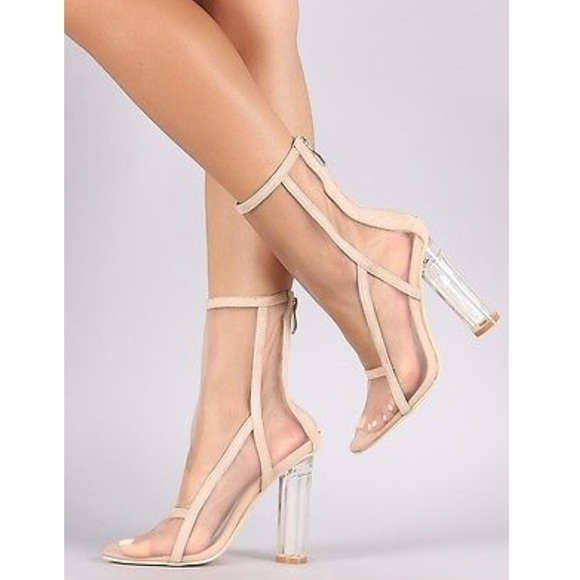18b24af6af5 Lola Shoetique Shoes - Nude mesh ankle booties with clear heel size 7 1 2
